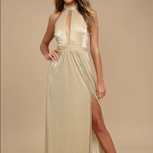 Lulu's Be A Star Gold Halter Maxi Dress - NWT